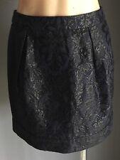 NWOT FOREVER NEW Navy& Black Floral Jacquard Print Mini Tulip Skirt Size 10