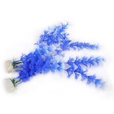 2x Fish Tank Aquarium Ornament Plastic Water Grass Plants Blue Artificial mt