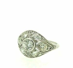 Ring Antique Art Nouveau White Gold 18k Vintage Fine Ottocento Diamonds 2,1 CT