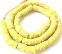 Ghana Light Yellow Recycled cylinder glass African trade beads