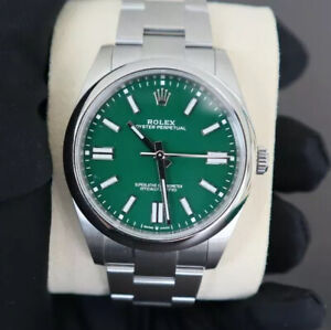 Rolex Oyster Perpetual 41 Green Dial with Oyster Bracelet 124300 w Box/Papers