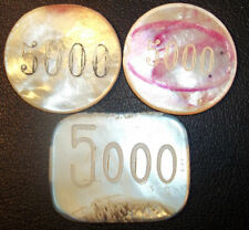 LOT x3 ANTIQUE NACRE TOKENS GAME CASINO MOTHER OF PEARL VALUE 5000, TO CLASIFY