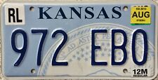 GENUINE American Kansas State Seal USA License Licence Number Plate Tag 972 EBO