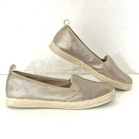 Clarks Collection Women's Shoes Gold Metallic SlipOn Espadrille Soft Insoles 9.5