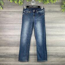 TRUE RELIGION Jeans Size 14 Girl's Youth Blue Straight Leg Mid Rise Denim