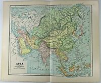 Original 1885 Map of Asia by Phillips & Hunt. Antique