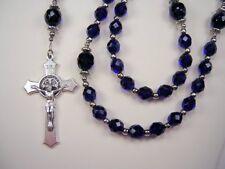 "Mens Police Cobalt Blue Rosary Cath Czech Glass 21+"" Masculino Policia Rosario"