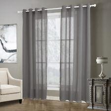 Plain Linen Curtains Textured Blockout Grey Drop Bedroom 220*140cm Home Decor UK