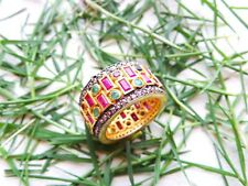 925 Solid Sterling Silver Ring Natural Ruby & Emerald Gemstone Victorian 11.4Grm