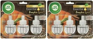 (2) Air Wick Limited Edition Pumpkin Spice 3 Ct Scent Oil Plug Refill 2.02 Oz