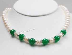 """7-8MM Natural white Akoya Pearl & Green Jade (10MM) Round Beads Necklace 18"""""""