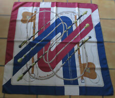 "Foulard carré soie  HERMES ""Clic Clac""   silk scarf J. Abadie"