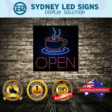 Animated LED NEON Motion Flash CAFE Business Sign COFFEE OPEN SIZE: 40CM X 40CM