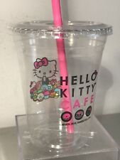 Hello Kitty Cafe Collectible 16 oz Clear Plastic Solo Cup, Lid and Straw NEW