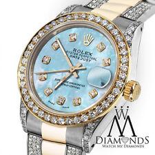Women's 31mm Rolex Oyster Perpetual Datejust Custom set Diamonds Baby Blue Dial