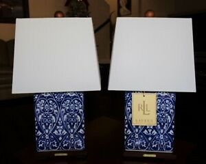 SET OF 2 RALPH LAUREN TABLE LAMPS PORCELAIN HEART FLOWER BLUE WOOD LOGO PAIR NEW