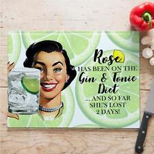 Personalizado Retro Pin Up Girl Gin Tonic vidrio vintage regalo casa de placa de corte