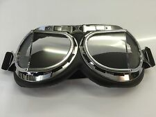 LEATHER CHROME STYLE WW2 Flying Goggles motorbike bike open top split lens type