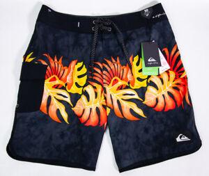 Quicksilver Men's Size 30 Black Orange Floral Swim Trunks NWT