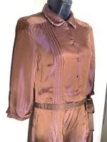 Lovely Brown Iridescent Massimo Dutti Silk Belted Dress UK Size 10