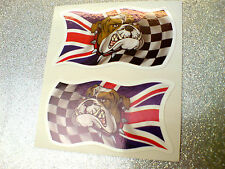BRITISH BULLDOG CHEQUERED UNION JACK Car Motorcycle Stickers Decals 2 off 50mm