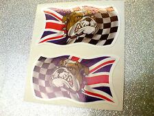 British Bulldog damiers Union Jack Voiture, Moto Stickers Autocollants 2 off 50mm