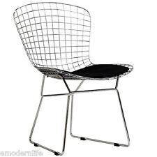 modern bertoia style side chair mid century modern design : black pad