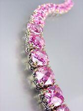 Estilo Diseñador Plata Oro Balinés Rosado Rosa Cristales CZ Pulsera de enlaces
