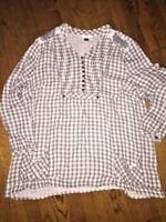 CJ Banks Women's Gingham Plaid Studded Button Top Blouse Half Sleeve Shirt SZ 2X