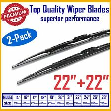 "Allstrong Premium 22""+22"" Traditional Windshield Wiper Blades J-Hook OEM Quality"