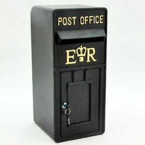Royal Mail Post Box ER II Pillar Box Black Cast Iron  Post Office Letter Box