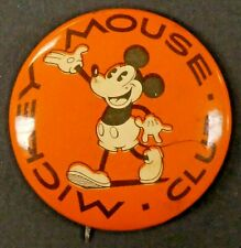 "Rare 1930's Mickey Mouse Club 1.25"" Pin Pinback Button with Paper in Back NM-MT"