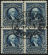 312 $2 James Madison, Block of 4, Used, CV $1900