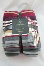 Nanette Lepore 6 Piece Towel Set Gray Purple Tan Striped Bath Hand Wash Cloth