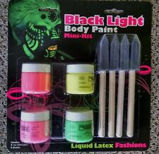 Black Light Body Paint Mini Kit  With Brushes Liquid Latex Fashions Kit