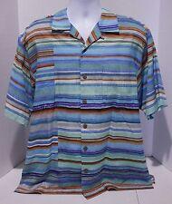 Tommy Bahama Mens 100% Silk Hawaiian Multi Color Button Front Shirt Size Medium