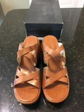 $160 VIA SPIGA Brown Leather WEDGE SANDAL SZ 9M Kerala calf