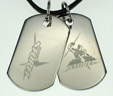MELBOURNE STORM NRL MENS DOUBLE DOG TAG S/S LEATHER NECKLACE JEWELLERY