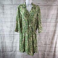 CAbi 280 Womens Leaf Print Faux Wrap Dress Sz Medium Green 3/4 Sleeve