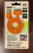 PowerXcel 30PIN to USB Sync & Charge Cable Orange 3 Ft. iPod iPhone