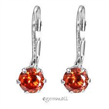 Sterling Silver CZ Leverback French Hook Earrings Orange Red #65369