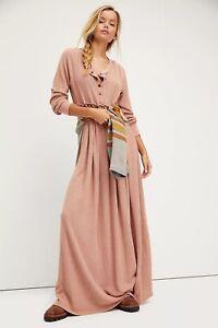 NWT FREE PEOPLE Sz XS MARISSA HENLEY DRESS WAFFLE THERMAL MAXI DRESS PINK