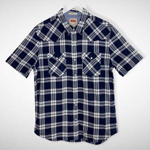 Levi's Plaid Navy Blue Western Style Men's Shirt