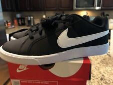 NIB Size 10 Womens Nike Court Royale Black White Leather Shoes Sneakers