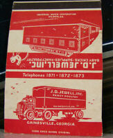 Vintage Matchbook Cover V3 Truck Trucking Gainesville Georgia JD Jewell Inc Fanc