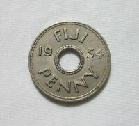 FIJI. 1 PENNY, 1954. QUEEN ELIZABETH II.