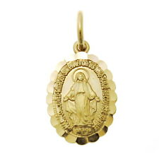 LADIES/CHILDS 9CT GOLD MIRACULOUS MARY MEDAL PENDANT NECKLACE - MADONNA MEDAL