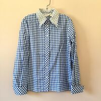 Vintage 50's JUDY BOND SZ 16 Large Checkered Gingham Cotton Blouse Embroidered