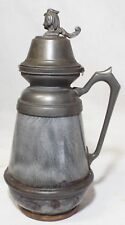 RARE Antique GRANITEWARE Mottled Gray SYRUP PITCHER Pewter Lady's Head Lid