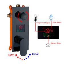 2-ways Black Concealed Box Digital Display Shower Diverter Mixer Control Valve